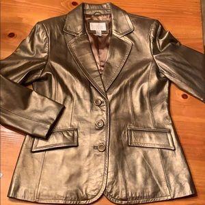 Metallic gold lamb skin blazer style jacket